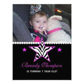 Pink Zebra Star: Picture Birthday Party Invitation from Zazzle.com
