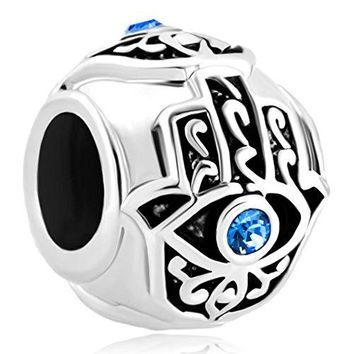 CharmsStory Sterling Silve Evil Eye Blue Simulated Birthstone Synthetic Crystal Charm Beads Charmss For Bracelets