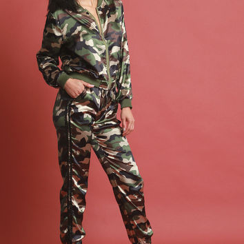 Sporty Satin Camouflage Two Piece Jogger Suit | UrbanOG