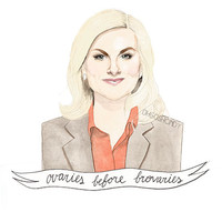 Leslie Knope watercolour portrait PRINT Amy Poehler ''Ovaries before brovaries''