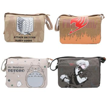 Cool Attack on Titan Japan Anime bag   Fairy Tail Shoulder Bag Totoro Backpack School Tokyo Ghoul Cosplay plush bag kids gifts AT_90_11