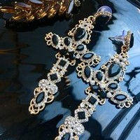 Gothic Black Rhinestone and Golden Cross Statement Earrings