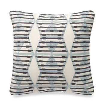 Anthology™ Mina Crewel Embroidered Square Throw Pillow in Aqua