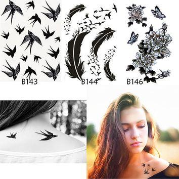 3Pcs Body Art Bird Feathers Rose Fake Tattoo Sticker Tatuaje 3D Tattoo Sleeve On His Arm Waterproof Temporary Tattoo