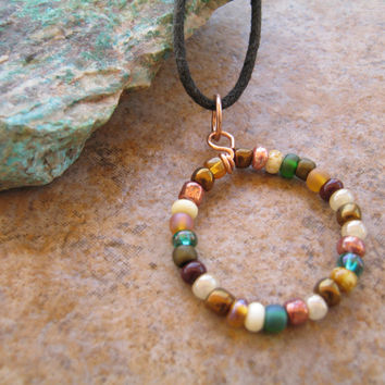 Handmade Southwest Beaded Circle Pendant Necklace , Simple Geometric Jewelry , Earthone Necklace , Green Brown Copper Wire Necklace