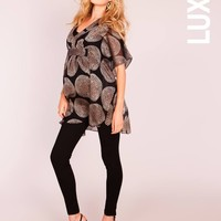 Gold and Black Silk Print Tunic
