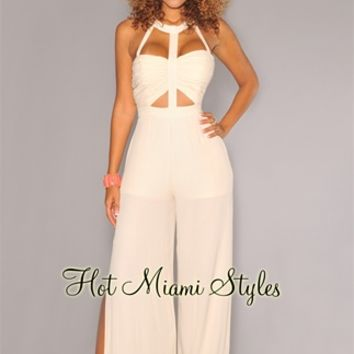 Cream Peep-Hole Accent Slit Legs Jumpsuit