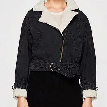 Black Lapel Buckle Strap Faux Shearling Cuff Denim Jacket