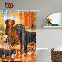 Cute Dogs Polyester Fabric Shower Curtain