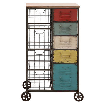 "45"" Tall Colorful Storage Cart, Storage Baskets"