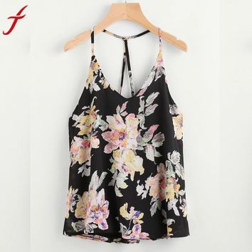 2017 Summer Sleeveless print chiffon women Sexy cold shoulder Halterneck Tank Crop Tops Vest Blusa Elegant Girls Blusa