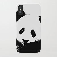 Giant Panda in Black & White iPhone Case by digitaleffects
