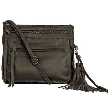 Media Lightweight Leather Crossbody Bag - Fossil Grey