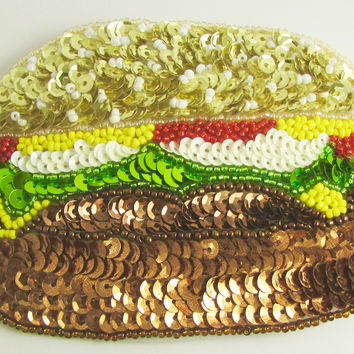 "Hamburger with Multi-colored Sequins and Beads 3.5"" x 4.25"""