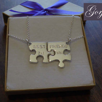 Two Personalised Edge Puzzle Pieces Silver Pendant Necklaces