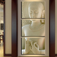 3 Pcs/Set Buddha Painting Art On Canvas White marble buddha vertical forms Canvas Print Decorative Picture Modern Wall Paintings