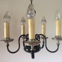 Antique Chandelier 5 Arm 2 Color 1930s Signed Miller