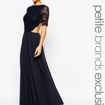 John Zack Petite Lace Bodice Maxi Dress With Cut Out Detail at asos.com