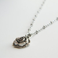"Antiqued Silver Rose Pendant Necklace on 20"" Matte Silver Chain"