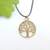 Antique Gold Tree Of Life Necklace - Yggdrasil Necklaces - Gold Tree Necklace - Viking Mens Jewelry - Fathers Day Gift - Mens Jewellery