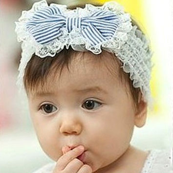 "1 Baby Girls White Stripe Lace Bowknot Stretch Hair Headbands 19x5cm(7 4/8""x2"") (Color: White & Blue) = 1705676804"