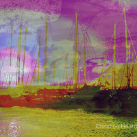ABSTRACT PHOTO PRINT - Alien Harbour Sunset - 8x10 - Surreal