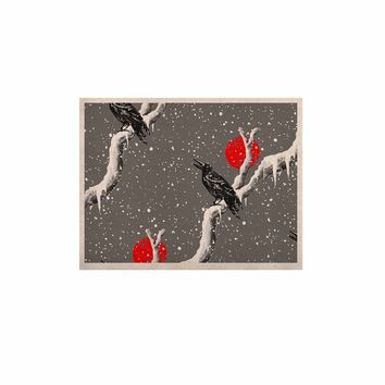 """BarmalisiRTB """"Winter Birds"""" Brown Coral Love Animals Digital Mixed Media KESS Naturals Canvas (Frame not Included)"""