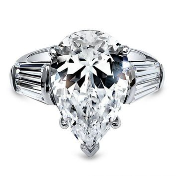 A Flawless 5.9CT Pear Cut Russian Lab Diamond Step Cut Trapezoid Accents Engagement Ring