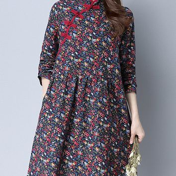 Streetstyle  Casual Henley Collar Printed Blend Shift Dress