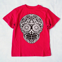 Black Skull Day of the Dead Red Boys shirt. Trendy Sugar skull Toddler Clothes. 4T 5T Red Cotton. Cool Kids tshirt. Tattoo top