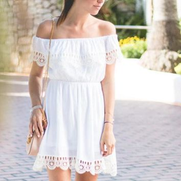 Off The Shoulder Contrast Lace Dress Short Sleeve Skater Short Dress Women's Party Wear Shift Dresses