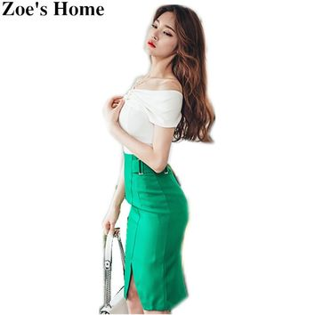 Casual Business Skirt Suit 2 Piece Set Women Sexy Off Shoulder Chiffon Crop Top + Solid Green Skirt Elegant Party Work Suits