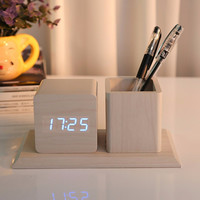 Creative LED Wood Pen Container Digital Clock Alarm Student Mute Mini Wooden Clock Sound Control Gift Wooden Alarm