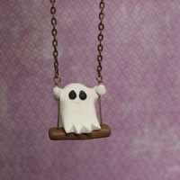 Ghost on a Swing  handmade clay ghost by littlelampsculpture
