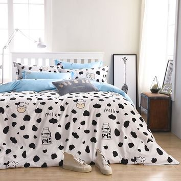 2017 New Bedding Size Can be customized Bed Sheet  Set linens King Size Duvet Cover+ Flat Sheet+ Pillow Case Cows