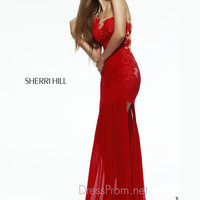 One Shoulder Slim Flare Formal Prom Gown By Sherri Hill 5201