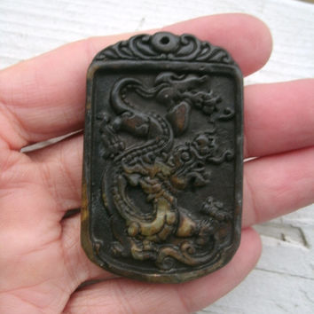 Chinese Dragon Carved Stone Pendant Bead/ amulet/good luck, raised relief carving on dark brown stone, detailed, beautiful, pendant supply