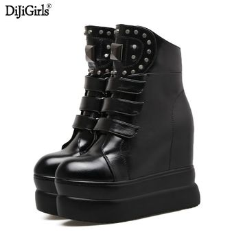 HAIYUELI Women's boots rivet side zipper platform wedge high heels winter women Punk motorcycle gothic shoes calf High boots