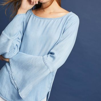 Cloth & Stone Chambray Bell-Sleeve Top