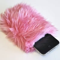 Furry Pink iPhone Pouch, Clueless Fluffy Cell Phone Case, Faux Fur