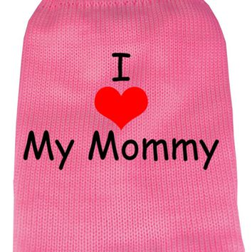 I Heart Mommy Screen Print Knit Pet Sweater Xs Pink