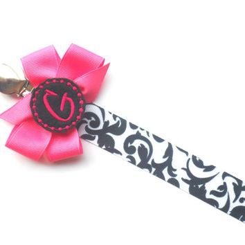 Damask  Monogram Pacifier Clip Holder Baby Girl Personalized Pacifier Clip Nuk Soothie Nam Paci