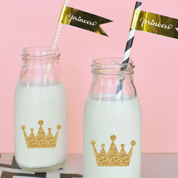 Gold Princess Birthday Party Straw Flags (Set of 24)