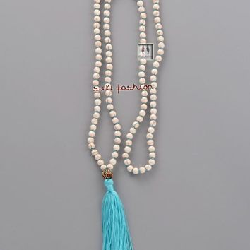 Exclusive Handmade Turquoise with Tassel Necklace Nepal Charm Bead Necklace for WomenTurquoise Jewelry Long Necklace Tassel Howlite