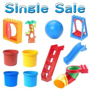 Amusement Park Swing Slide Conduit Big Particles Building Blocks Assemble Baby child Toys Bricks DIY Gifts Compatible with Duplo