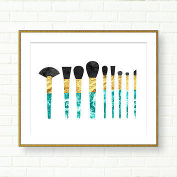 Vanity Wall Decor, INSTANT DOWNLOAD, Makeup Brushes Art Print, Turquoise Gold, Glam Bathroom Art, Vanity Decor, Printable, Green, Marble