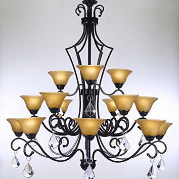"SWAROVSKI CRYSTAL TRIMMED CHANDELIER! WROUGHT IRON CHANDELIER WITH CRYSTAL H51"" x W49"" - PERFECT FOR AN ENTRYWAY OR FOYER! - A84-CRYSTAL/451/15SW"