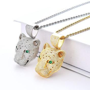 Iced Out Bling Leopard Head Pendant Necklace 2 Colors Micro Pave Zircon Mens Necklace Fashion Hip Hop Jewelry