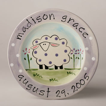 Hand painted personalized sheep baby birth plate