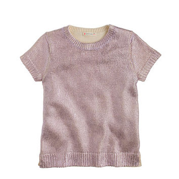 crewcuts Girls Metallic Short-Sleeve Popover Sweater
